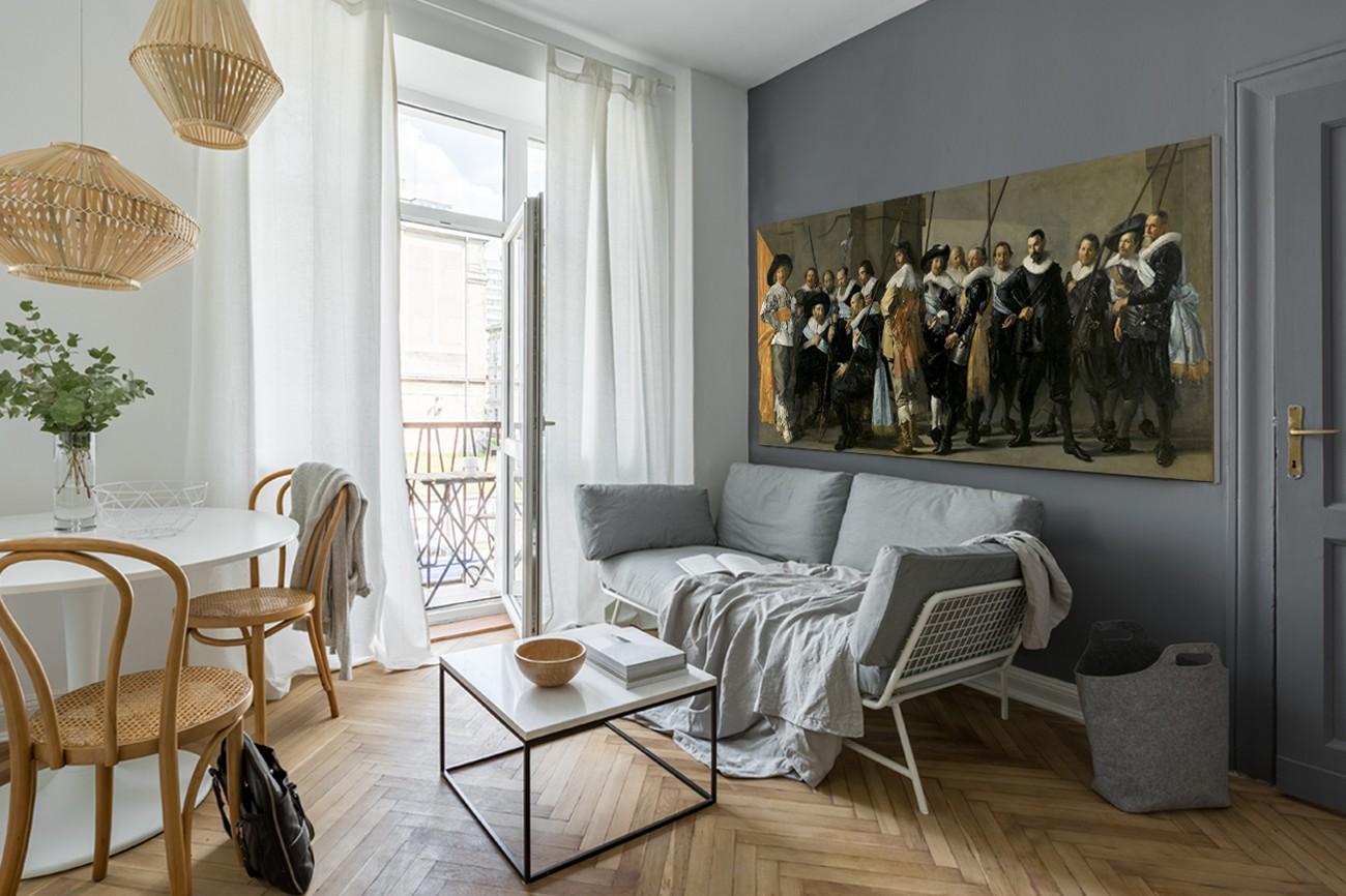 Textieldoek met de magere compagnie van Frans Hals met als titel The meagre company op textieldoek, verkrijgbaar in verschillende zeer grote formaten, inclusief textiel frame.