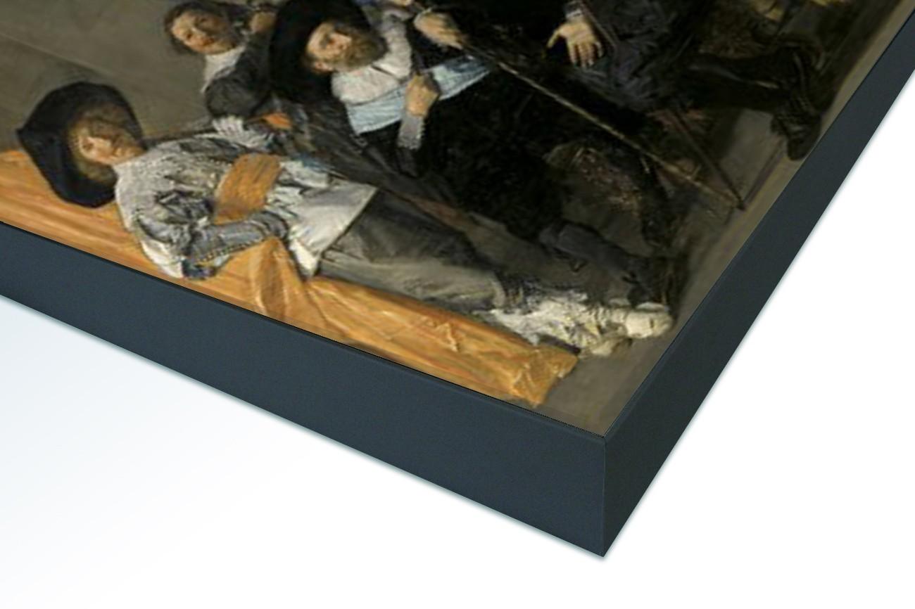 Close up textieldoek in frame gemonteerd zwart