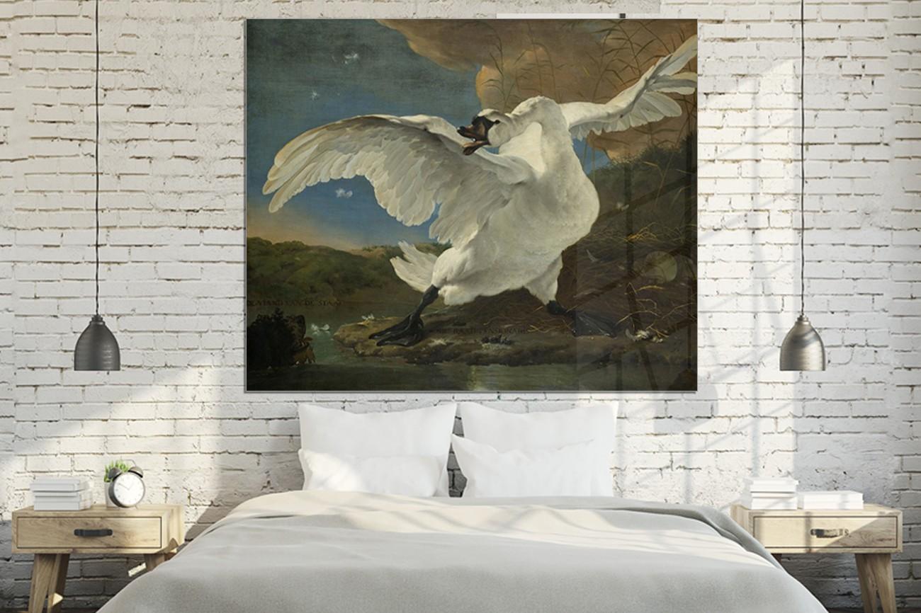 Grote zwaan op de voorgrond van Jan Asselijn met als titel De bedreigende zwaan op textieldoek, verkrijgbaar in verschillende zeer grote formaten, inclusief textiel frame.