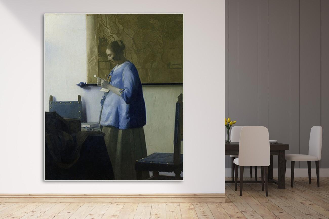 Schilderij van Johannes Vermeer met als titel brieflezende vrouw op textieldoek.Verkrijgbaar in verschillende zeer grote formaten, inclusief textiel frame.
