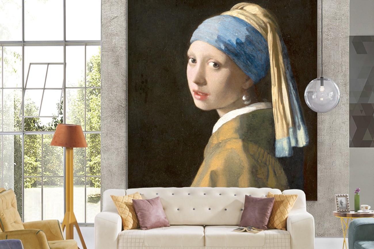 Schilderij van Johannes Vermeer met als titel Meisje met de parel op textieldoek. Verkrijgbaar in zeer grote verschilende formaten, inclusief textiel frame.
