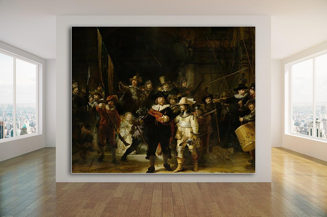 Super bekend schilderij van Rembrandt van Rijn met als titel De nachtwacht. Verkrijgbaar in zeer grote verschillende formaten, inclusief textiel frame.