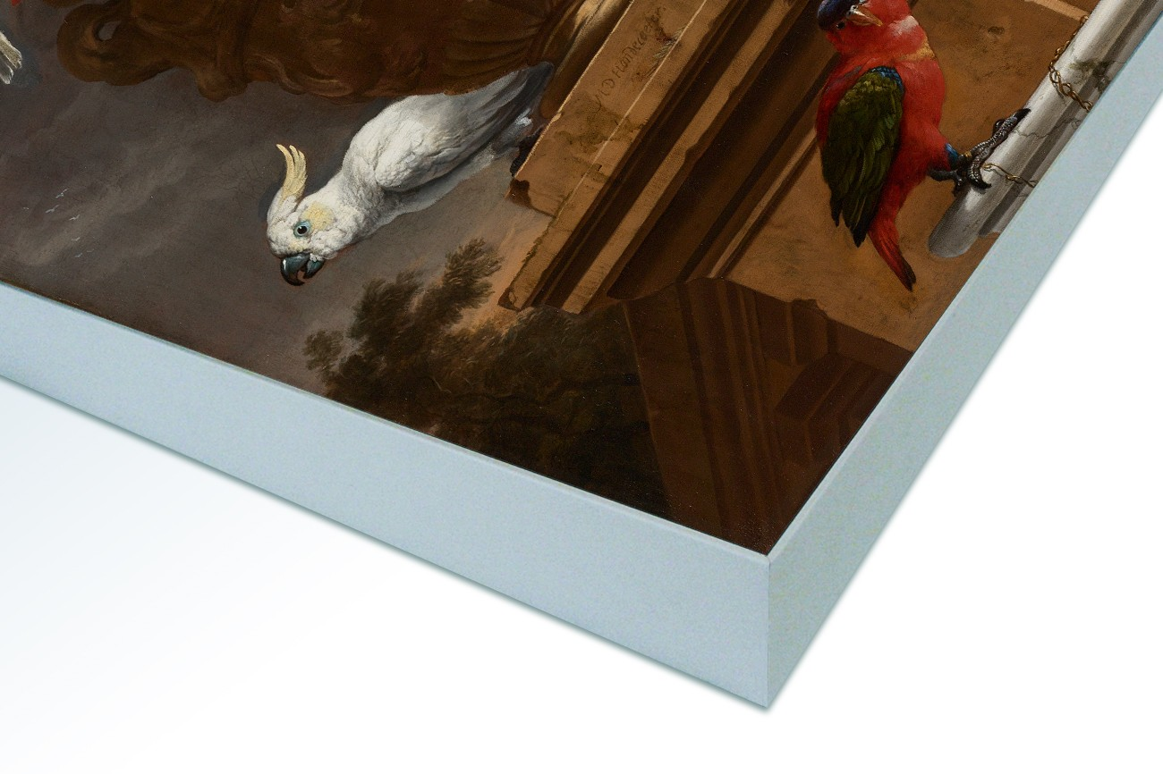 Close up textieldoek in frame gemonteerd wit