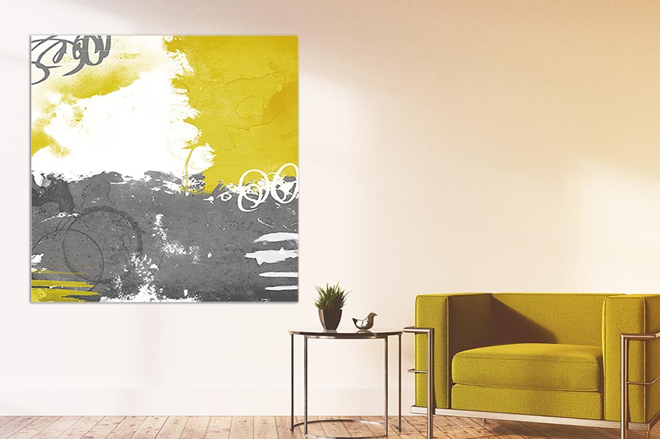 Schilderij met drie verschillende kleuren van Jace Grey met als titel Cocoon II