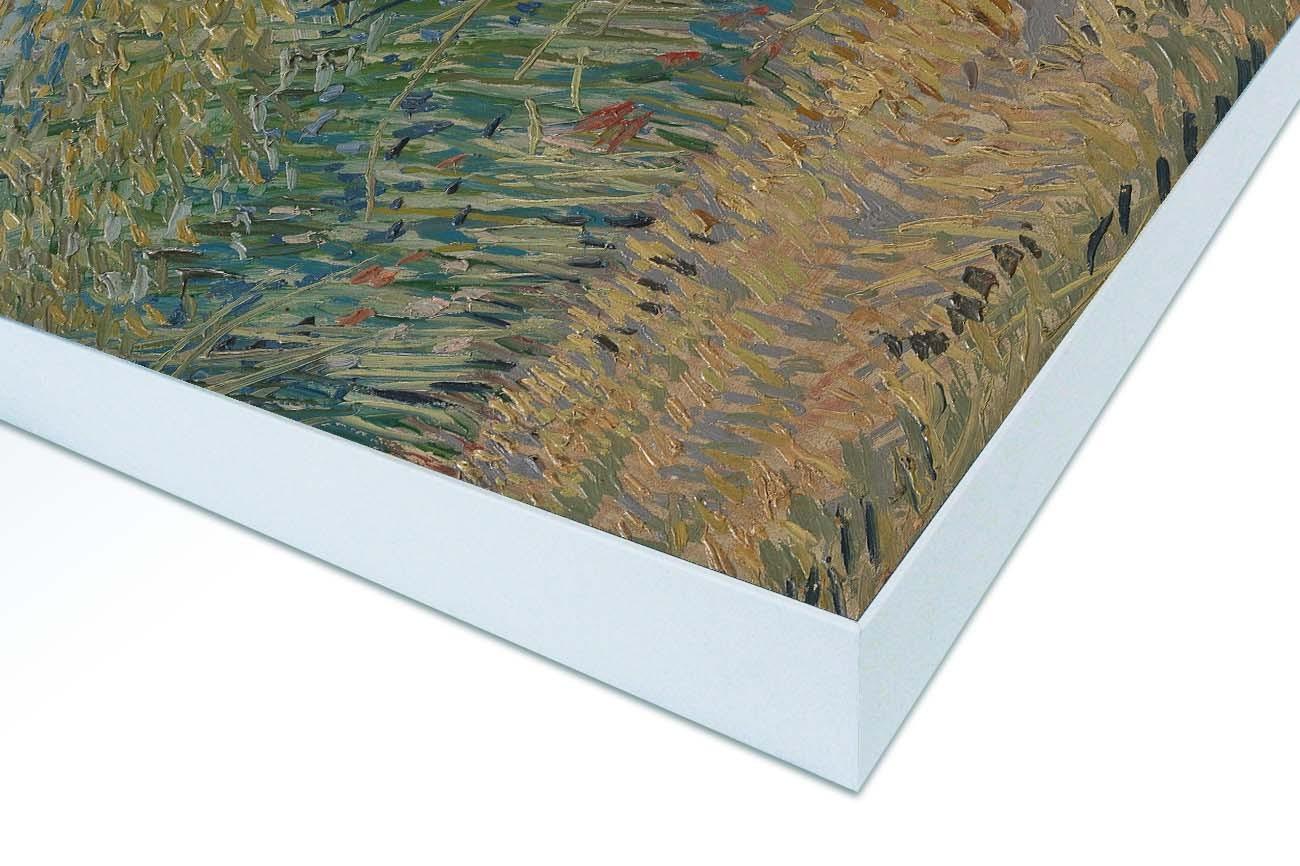 Close up textieldoek gemonteerd in frame wit